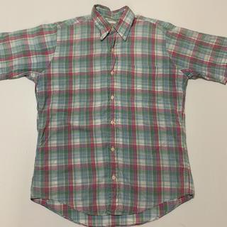 【USA製】THE BAGGY ザ バギー 半袖 チェック シャツ S 緑桃水色(シャツ)