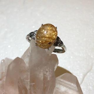 92A 絶賛値下げ中‼️AAA天然金針ルチルクォーツリング(リング(指輪))