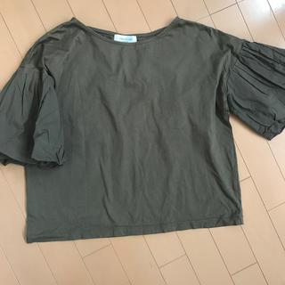 オペークドットクリップ(OPAQUE.CLIP)のチューリップ袖 ちょうちん袖Tシャツカーキ色(Tシャツ(半袖/袖なし))