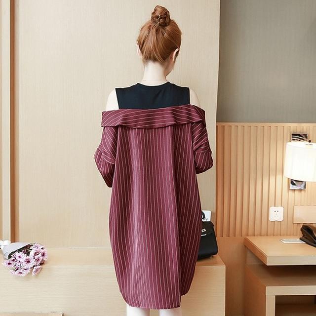 【即購入OK】大きいサイズ ♡重ね着風ワンピース レディースのワンピース(ミニワンピース)の商品写真