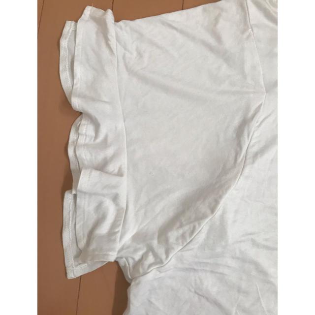 GU(ジーユー)のGU白Tシャツ 袖フリル レディースのトップス(Tシャツ(半袖/袖なし))の商品写真