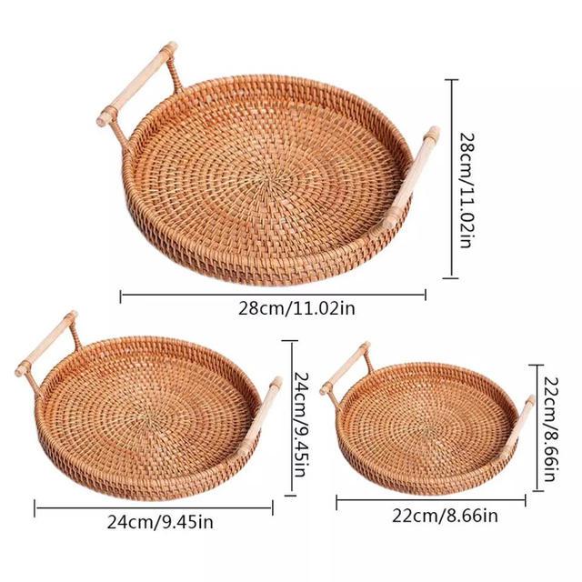 『残り一点』韓国 ラタン 藤 トレイ インテリア/住まい/日用品のインテリア小物(バスケット/かご)の商品写真