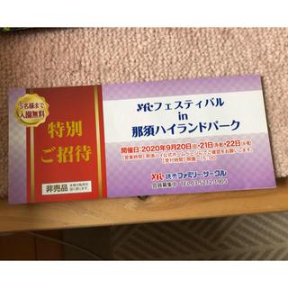 那須ハイランドパーク特別ご招待券 5名様まで入園無料(遊園地/テーマパーク)