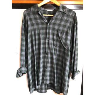 コモリ(COMOLI)のcomoli コモリ  レーヨンオープンカラーシャツ グリーン(シャツ)