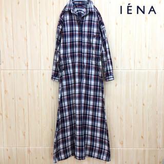 IENA - 【IENA】ワンピース (M)シャツワンピース チェック 長袖 赤 紺 白