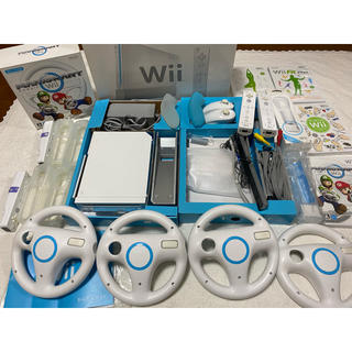 Wii - Wii本体セット&マリオカートソフト  ハンドル4個他