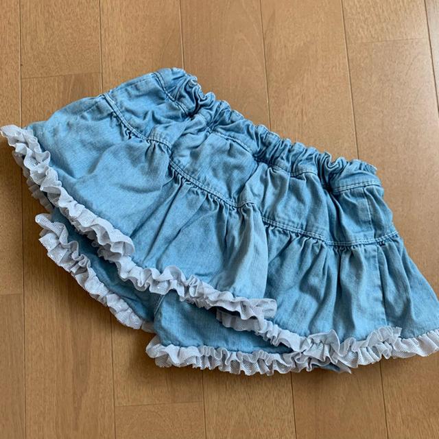 EARTHMAGIC(アースマジック)のアースマジック ダンガリー  スカート 80-90cm キッズ/ベビー/マタニティのキッズ服女の子用(90cm~)(スカート)の商品写真