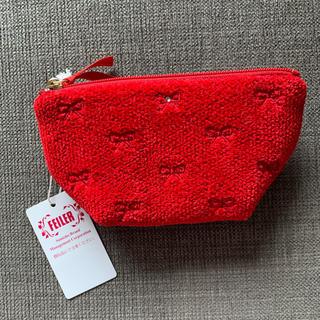 FEILER - フェイラー ラブラリー プリティカラー リボン刺繍ポーチ 赤