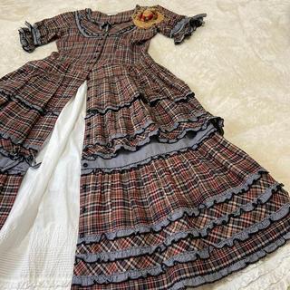 PINK HOUSE - ピンクハウス💖オリチェ&ギンガム・豪華被せ3段フレアースカート超美品🌟