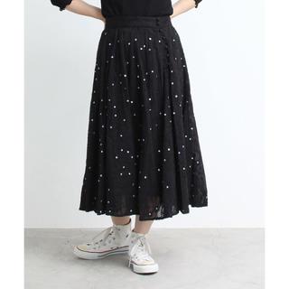 ドットアンドストライプスチャイルドウーマン(Dot&Stripes CHILDWOMAN)のドットアンドストライプスチャイルドウーマン綿ボイルペイズリー刺繍スカート(ひざ丈スカート)
