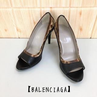 バレンシアガ(Balenciaga)の【BALENCIAGA】パンプス(37) オープントゥ 豹柄 ハイヒール(ハイヒール/パンプス)
