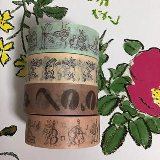 タリーズコーヒー(TULLY'S COFFEE)のタリーズコーヒー×かまわぬコラボ マスキングテープ 鳥獣戯画(テープ/マスキングテープ)