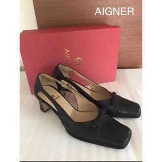 アイグナー(AIGNER)の⭐️アイグナー かかとのブランドロゴがポイント ブラック(ハイヒール/パンプス)