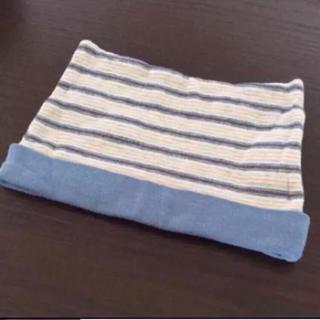 ニシマツヤ(西松屋)の未使用★帽子 ベビー 綿100% 男の子 ボーダー 後頭部ハゲ防止(帽子)