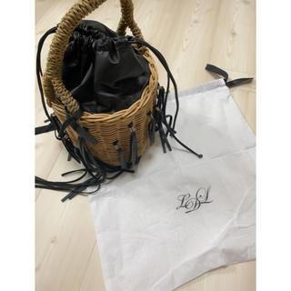 ラドロー(LUDLOW)のラドローカゴバッグ 黒 美品(かごバッグ/ストローバッグ)