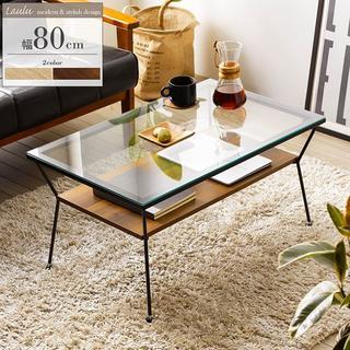 ディスプレイ収納棚付きガラステーブル 80cm ブラウン色(ローテーブル)