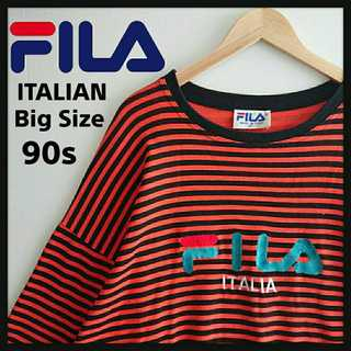 FILA - 882 激レア フィラ イタリア製 ビッグサイズ ボーダーTシャツ デカロゴ刺繍