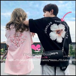 【~6L7L相当】BACK.Flower柄BIG.Tシャツ*黒
