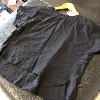 ムジルシリョウヒン(MUJI (無印良品))のリシェグラマー  プルオーバー ブラウス 黒(カットソー(半袖/袖なし))