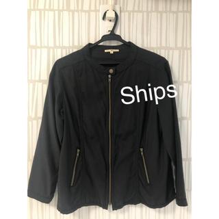 シップス(SHIPS)のシップスships☆ノーカラージャケット 薄手 ネイビー アウター(ノーカラージャケット)