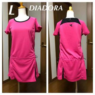 ディアドラ(DIADORA)のディアドラ チュニック(TL3544) ピンク/黒 L(ウェア)