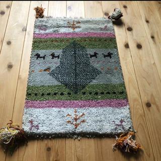 ウールギャべ 手織り 40×60cm 玄関マットサイズ 新品未使用(玄関マット)