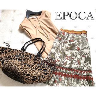 エポカ(EPOCA)の美品エポカ優美なゆれ感デザインスカート40シャネルZARA(ひざ丈スカート)