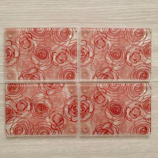 Francfranc - 花柄 コースター ガラス 薔薇