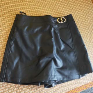 Dior - Dior パンツ ミニ Aライン ラップ 黒 CD 革