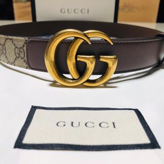 Gucci - 【GUCCI】GGベルト(ダブルGバックル)ベージュブラウン/80cm