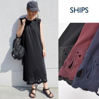 SHIPS for women - SHIPS Khaju エンブロイダリーノースリーブカットワンピース ブラック