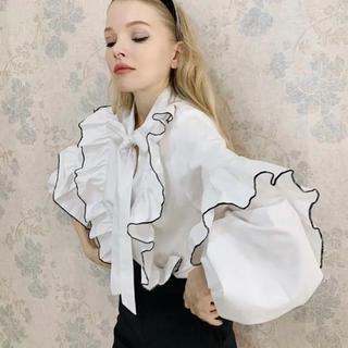 ZARA - epine リボンブラウス piping frill volume blouse