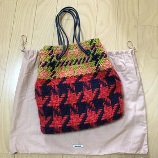 miumiu - ミュウミュウ miumiu 巾着バッグ チェーン ショルダー ニット