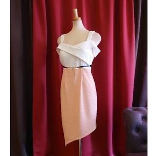 JEWELS - J1935 新品 XL ワンピース Jewels ピンク 長め丈 肩見せ 斜め裾