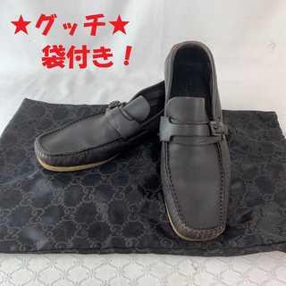 グッチ(Gucci)の☆特価セール☆ 【グッチ】 ローファー 黒 レディース 袋付き レザー ブランド(ローファー/革靴)