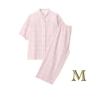 ムジルシリョウヒン(MUJI (無印良品))の無印良品   脇に縫い目のない サッカー織り半袖パジャマ  婦人M・ピンク×柄 (パジャマ)