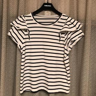 ビームス(BEAMS)のビームスハート ボーダーフリル袖 カットソー Tシャツ(カットソー(半袖/袖なし))