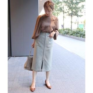 ノーブル(Noble)のNOBLEガンクラブチェックフープジップタイトスカート(ひざ丈スカート)