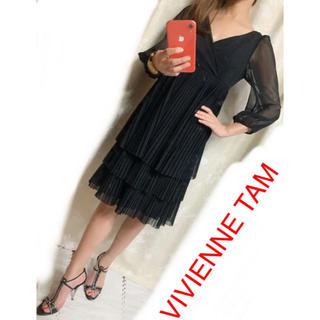 VIVIENNE TAM - ヴィヴィアンタム0 シースルー長袖ワンピース Vネック