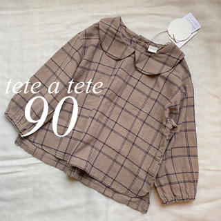 petit main - テータテート チェック 丸襟ブラウス 90 新品 新作
