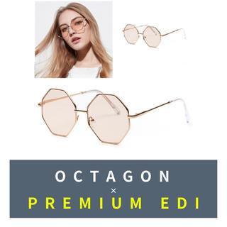 【入手困難】オクタゴンフレームグラス ゴールド/ 伊達眼鏡 メガネ 多角形(サングラス/メガネ)