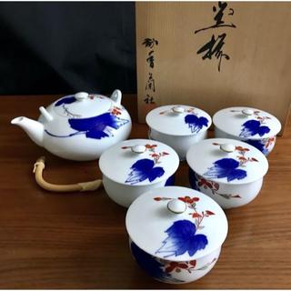 コウランシャ(香蘭社)の昭和レトロ 急須&蓋付き湯呑み5客の茶器セット(グラス/カップ)