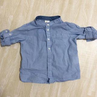 エイチアンドエム(H&M)のH&M 縦縞ブルーシャツ 4-6m 68(シャツ/カットソー)