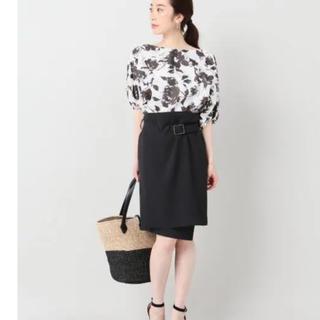 ノーブル(Noble)のNOBLE♡エステルツイルラップスカート♡ブラック(ひざ丈スカート)