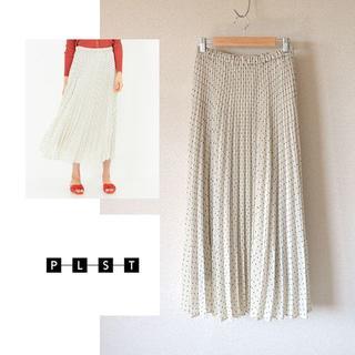 PLST - プラステ ドットドビープリーツスカート M 黒×白