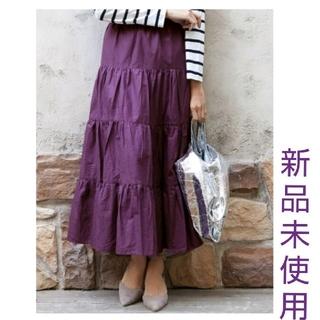 カワイイ(cawaii)のティアードスカートロングスカートパープルコットンcawaii系スカート紫スカート(ロングスカート)