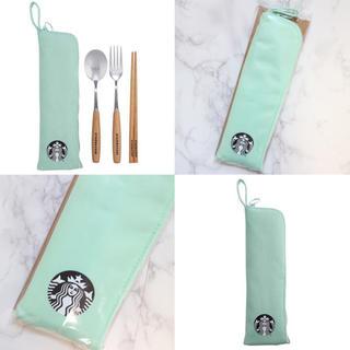 Starbucks Coffee - 【新品】台湾スターバックス カトラリー 3点セット グリーン 海外限定