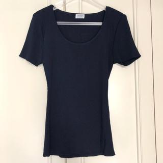 フォクシー(FOXEY)の【FOXEY】フォクシー ニットTシャツ ネイビー 日本製 トップス(Tシャツ(半袖/袖なし))
