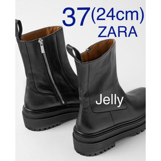 ZARA - 【タグ付き新品】ザラ トラックソール レザー アンクル フラット ブーツ