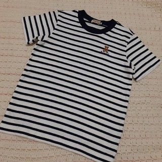 mikihouse - 美品 ミキハウス ボーダー 半袖 くま 刺繍 Tシャツ 120